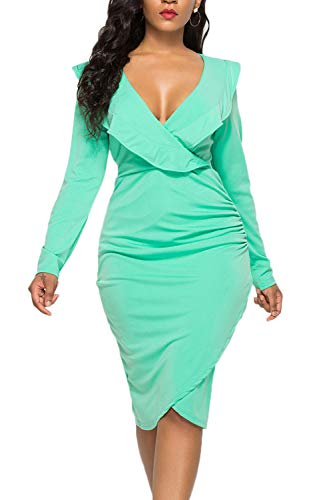 WIWIQS Women Sexy Long Sleeve Autumn Warm Stretch Bodycon Party Bandage Dresses,Green Long Sleeve,XL