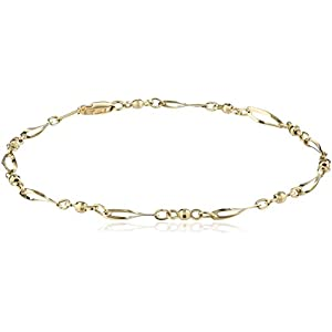 14k Yellow Gold Bead and Twist Link Anklet, 9.5""