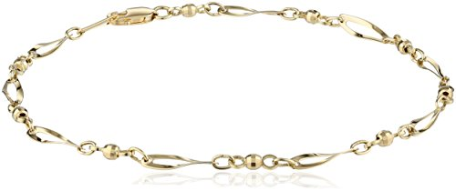 14k Yellow Gold Bead and Twist Link Anklet, 9.5'' by Amazon Collection