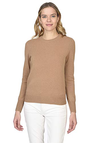 State Cashmere Essential Crewneck Sweater 100% Pure Cashmere Long Sleeve Pullover for Women (Cammello, Large)