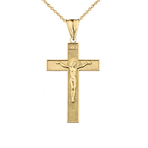 Elegant 10k Yellow Gold INRI Halo Crucifix Cross Pendant Necklace, 16
