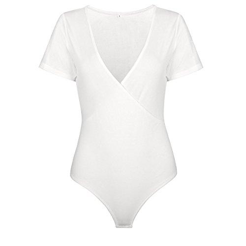 d823834c34c Amazon.com  MALOTINA Women Bodysuit Short Sleeve Deep V Neck Lingerie  Jumpsuits Leotard T-Shirt  Clothing