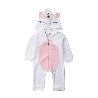 OUlike Mono de Franela con Capucha para beb/é reci/én Nacido con dise/ño de Unicornio
