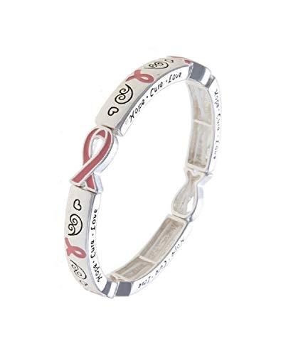 Fashion Leader Breast Cancer Awareness Hope Cure Love Pink Ribbon Symbol Stretch Bracelet