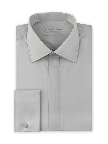 (Steven Land Men's New Elite Performance Swiss Soft 100% Cotton Non Iron Dress Shirt French Cuff Silver)