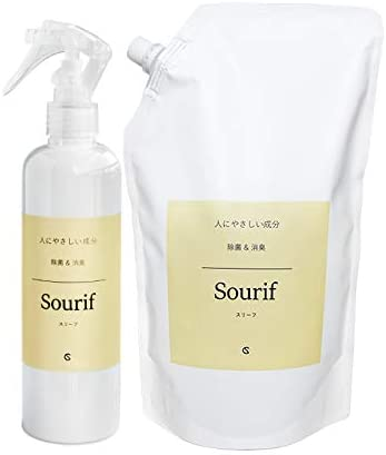 Sourif(スリーフ)300ml ボトル+1000ml 詰め替えパウチセット 除菌消臭スプレー 200ppm 無臭