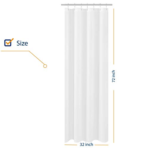 N&Y HOME Small Stall Shower Curtain Liner Fabric 32 x 72 inch Narrow Size, Hotel Quality, Washable, Water Repellent, White Bathroom Curtains with Grommets, 32x72