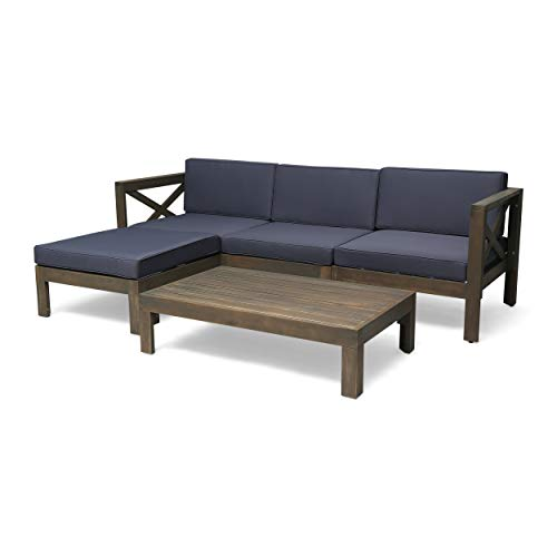 Great Deal Furniture Mamie Outdoor Acacia Wood 5 Piece Sofa Set, Gray and Dark Gray