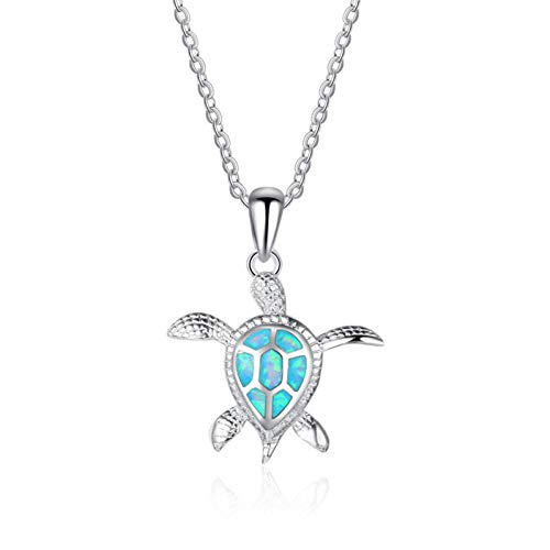 AISHIPING Blue Opal Crystal Sea Turtle Chain Pendants Necklaces for Women Animal Wedding Ocean Beach Jewelry