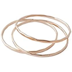 HONEYCAT Super Skinny Hammered Stacking Rings Trio Set in Gold, Rose Gold, or Silver | Minimalist, Delicate Jewelry (Rose Gold, 8)