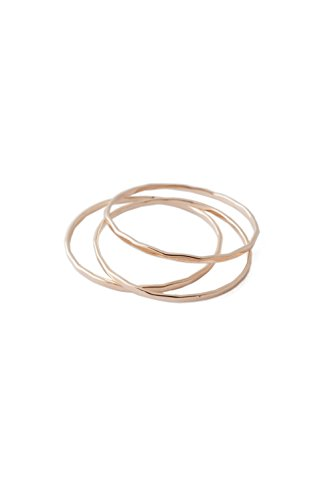 HONEYCAT Super Skinny Hammered Stacking Rings Trio Set in Gold, Rose Gold, or Silver | Minimalist, Delicate Jewelry (Hammered/RG/7)