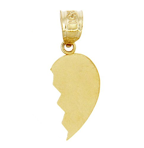 10k Yellow Gold Satin Finish Right Half Broken Heart Charm Pendant (Heart Broken Pendant)