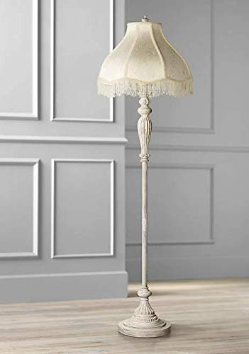 Vintage Chic Floor Lamp Antique White Cream Scallop Fabric Dome Shade with Fringe for Living Room Reading Bedroom - 360 ()