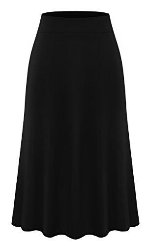 AM CLOTHES Plus Size Knee Length Midi Skirt For Women X-Large Black