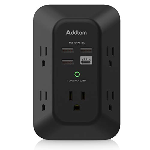USB Wall Charger Surge Protector - Addtam 5 Outlet Extender with 4 USB Charging Ports ( 1 USB C, 4.5A Total), 3-Sided 1800J Power Strip Multi Plug Outlets Adapter Widely Spaced , Black