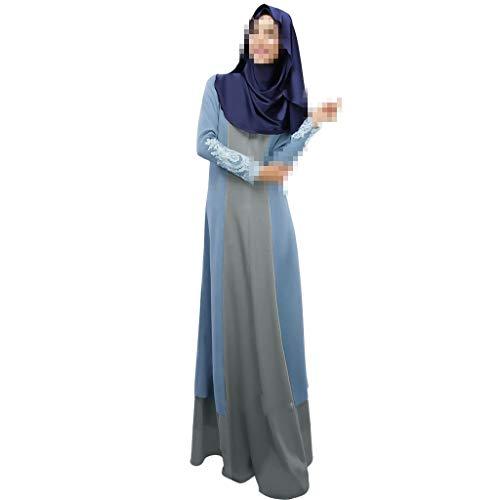 (Sunyastor Muslim Dresses for Women Summer Splicing Kaftan Abaya Maxi Dress Lace Trim Swing Islamic Dubai Caftan Dress Light)