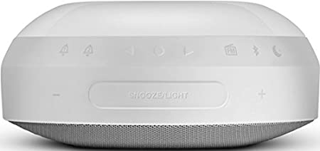 White JBL Horizon Wireless Bluetooth Dual Alarm Clock FM Radio with USB Dock Charging and Sunrise Wake Up Ambient LED Light Compatible with Apple iOS and Android Smartphones Tablets and MP3 Devices