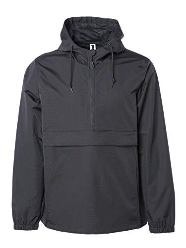 Global Blank Mens Hooded Windbreaker Raincoat Waterproof Jacket Pocket Black 3XL ()
