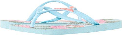 Havaianas Women's Slim Floral Sandal, Ice Blue 39/40 BR (9/10 M US) - Havaianas Floral Flip Flops