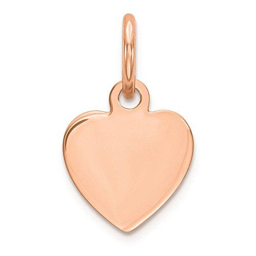 - 14K Rose Gold .011 Gauge Engravable Heart Disc Charm Pendant