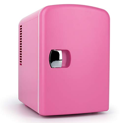 Living Enrichment Mini Portable Compact Personal Fridge Chilling and Warming, AC/DC Power, 4L 6 cans Capacity Includes Plugs for Home Outlet & 12V Car Charger, Pink