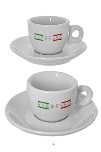 Set 2 Italian Flag Colors White Porcelain Demitasse Espresso Cups and Saucers