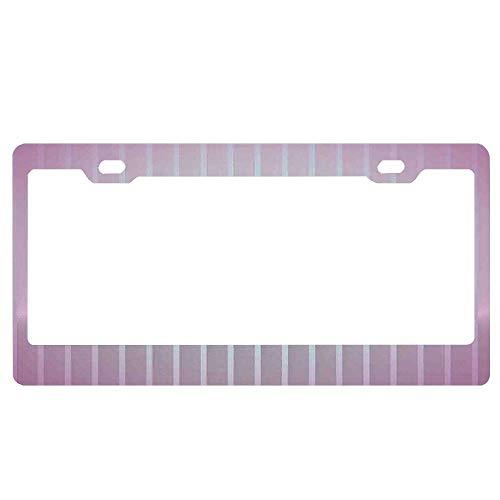 (GqutiyulUCOOL Modern Vertical Wave Like Lines Display License Plate Frames for Women/Men/Girls, Aluminum Metal License Plate Frame Holder Tag/Chrome Screws Cap)