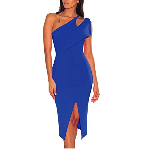 iHPH7 Dresses Casual Sleeveless Bodycon Tight Midi Dress Cocktail Party Pencil Dresses Fashion Sexy Bodycon Slim Hollow Fork Cocktail Party Dress (XL,Blue)