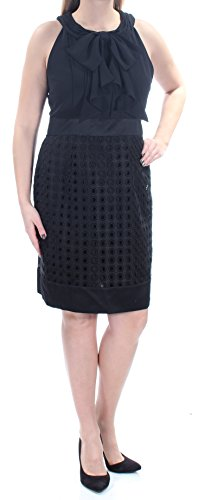 (Anne Klein Women's Bow Neck Jersey Bodice with Lace Skirt, Black 12 )