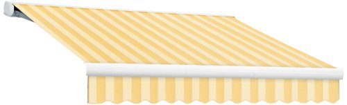 AWNTECH 14-Feet Key West Full Cassette Manual Retractable Awning, 120-Inch, Almond/Multicolor