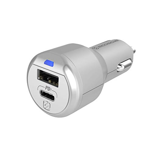 Scosche CPDA2C8SR-SP PowerVolt 30W Certified USB Type-C + Type-A Fast Car Charger Power Delivery 3.0 for All Power Delivery 3.0, 2.0 and Standard USB-A or USB-C Devices in Silver
