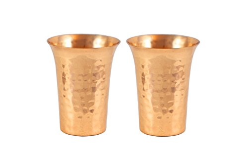 Brass Copper Tin (Set of 2 Hammered Copper Shot Glasses - 100% Pure)