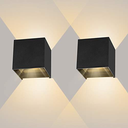 2 stuks LED wandlamp zwart, 12W muurlampen binnen 3000k warm licht, IP65 waterdichte buitenwandlamp met instelbare…