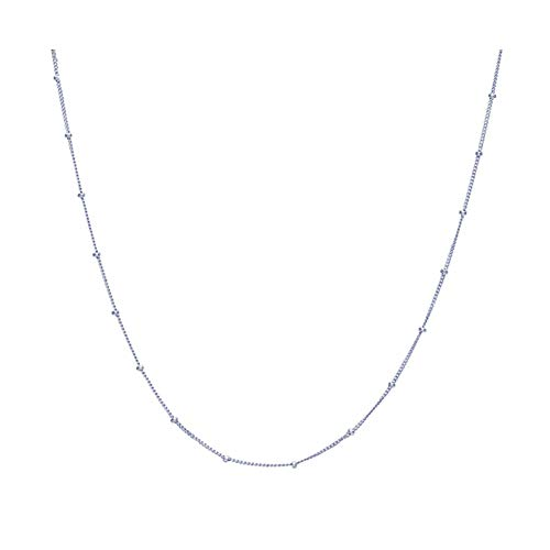 Pop Dazzle Sterling Silver Choker Necklace Simple Dainty Minimalist Tiny Necklace Chian Choker Necklace for - Necklace Silver Sterling Bead Choker