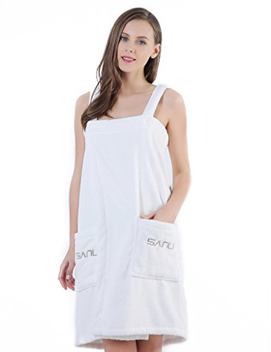 (Women's Spa Bath Towel Wrap, Shower Robe - Plush Soft Terry Cotton Bathrobe with Straps,L White)