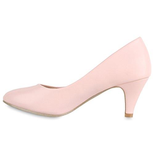 Stiefelparadies Damen Klassische Pumps Mid Heels Leder-Optik Elegante Schuhe Glitzer Absatzschuhe Strass Abendschuhe Abiball Flandell Rosa
