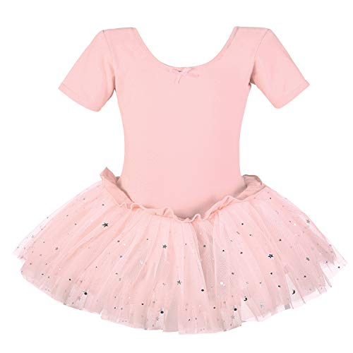 Dancina Leotard Sparkle Tutu Dress Short Sleeve Kids' Ballet Gymnastics Barre Cute Outfit 6 Ballet Pink