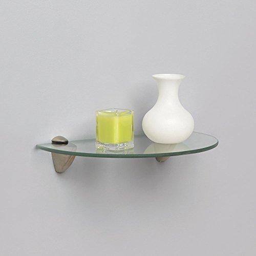 عروض Shelf-Made KT-0134-812SN Curved Glass Shelf Kit, Satin Nickel, 8-Inch by 12-Inch