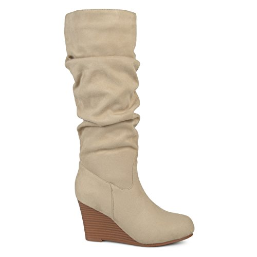 Brinley Co. Womens Regular and Wide Calf Slouchy Faux Suede Mid-Calf Wedge Boots Stone, 10 Wide Calf US