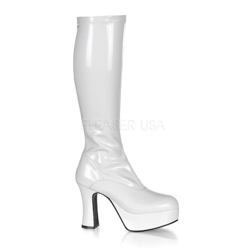 Funtasma by Pleaser Women's Exotica-2000 Boot,White Stretch Patent,8 M