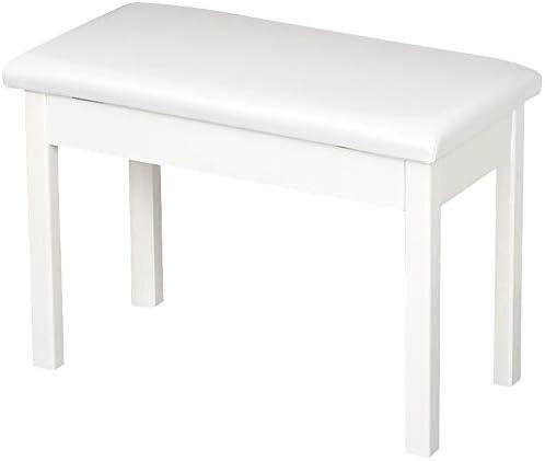 ピアノ椅子 キーボード椅子 ストレージ機能付きピアノ・キーボードスツールPUレザー通気性のピアノスツールデジタルピアノ椅子 楽器スツール (色 : 白, Size : One size)