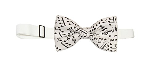 (Men's White / Black Music Notes Pre-Tied Cotton Bow Tie On Adjustable Twill Strap)