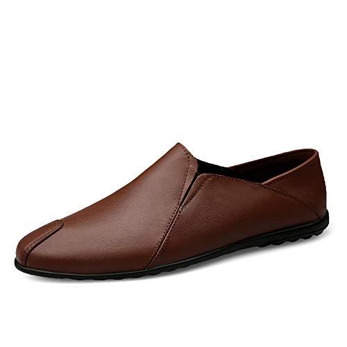 marron- Fleece Inside 40 EU S-FANG, Mocassins pour Homme Marron Mocassins pour Homme Bout Rond Oxfords Décontracté Plat Penny Chaussures en Cuir Dessus Slip on Chaussures Polaire Légère à l'intérieur