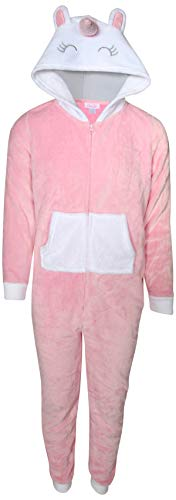 Rene Rofe Girl\'s Onesie Pajamas with Character Hood, Pink Unicorn, Size 6/6X' (Pink Unicorn Footed Pajamas)