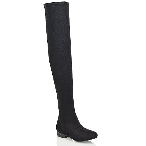 ESSEX GLAM Womens Thigh High Stretch Calf Leg Faux Suede Flat Heel Over The Knee Boots