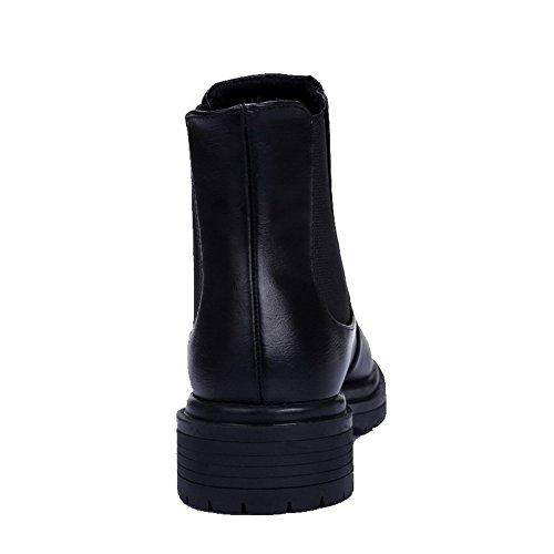 AllhqFashion Mujeres Sólido Tobillo Mini Tacón Puntera Redonda Cerrada Sin cordones Botas Negro