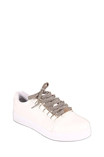 's blanco Tenis 5 Low Shoe Grand 5 Slam White Top up Glitter Lace BambooShoes Women CwBqTBR