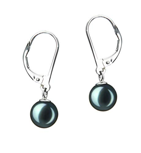 7mm Aa Japanese Akoya Pearl - Marcella Black 7-8mm AA Quality Japanese Akoya Cultured Pearl Earring Pair For Women - 14K Yellow Gold Post