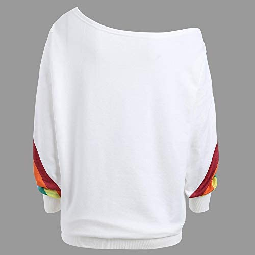 MERICAL Les Femmes Occasionnels l/âche Manches Longues Arc en Ciel Impression Pull Blouse Chemises Sweat