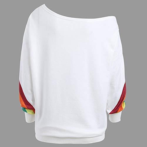 WUAI Seasonal Clearance,Womens Casual Pullover Sweatshirt Rainbow Print Loose Fit Sports Classic Athletic Shirts(White,Size 2XL)